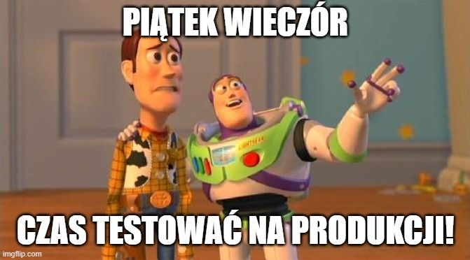 """Mem z postaciami z filmu """"Toy Story"""": Piątek wieczór - czas testować na produkcji! - w 100% oddaje nastroje wszystkich, którzy kiedykolwiek musieli debugować zepsuty system przez weekend…"""
